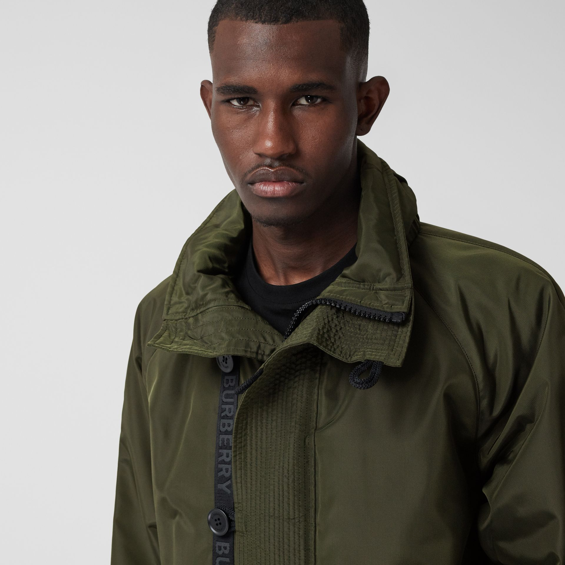 Packaway Hood Logo Tape Nylon Canvas Parka in Dark Olive - Men | Burberry - gallery image 1