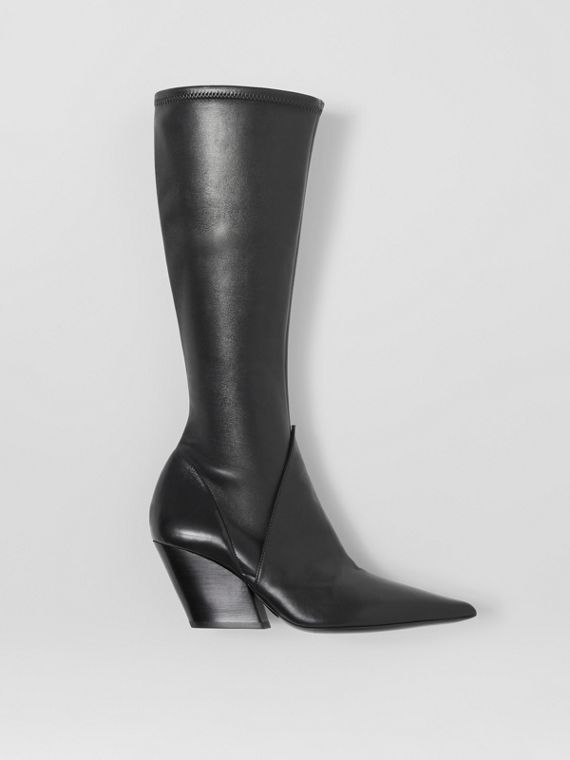 Panelled Lambskin Knee-high Boots in Black