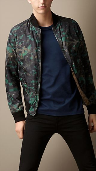 Reversible Abstract Camouflage Print Bomber Jacket