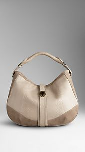 Medium Smoked Python Leather Hobo Bag