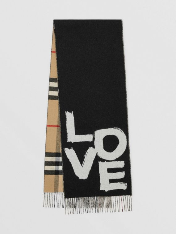 Love and Check Wool Silk Jacquard Scarf in Black