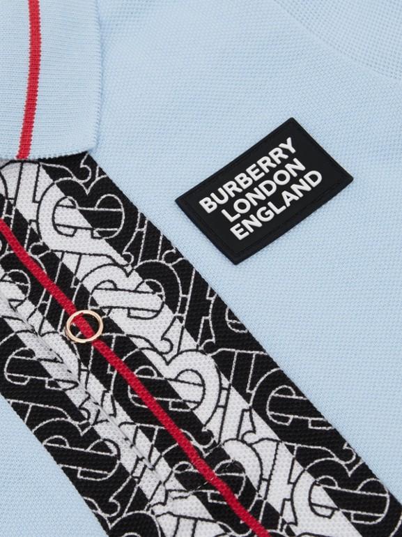 Monogram Stripe Print Cotton Piqué Polo Shirt in Pale Blue - Children | Burberry - cell image 1