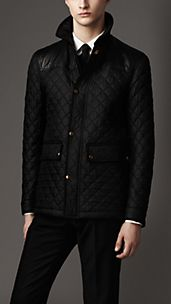 Leather Detail Quilt Field Jacket