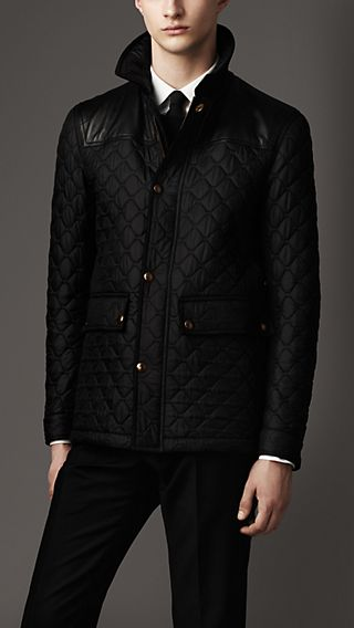 Leather Detail Quilted Field Jacket