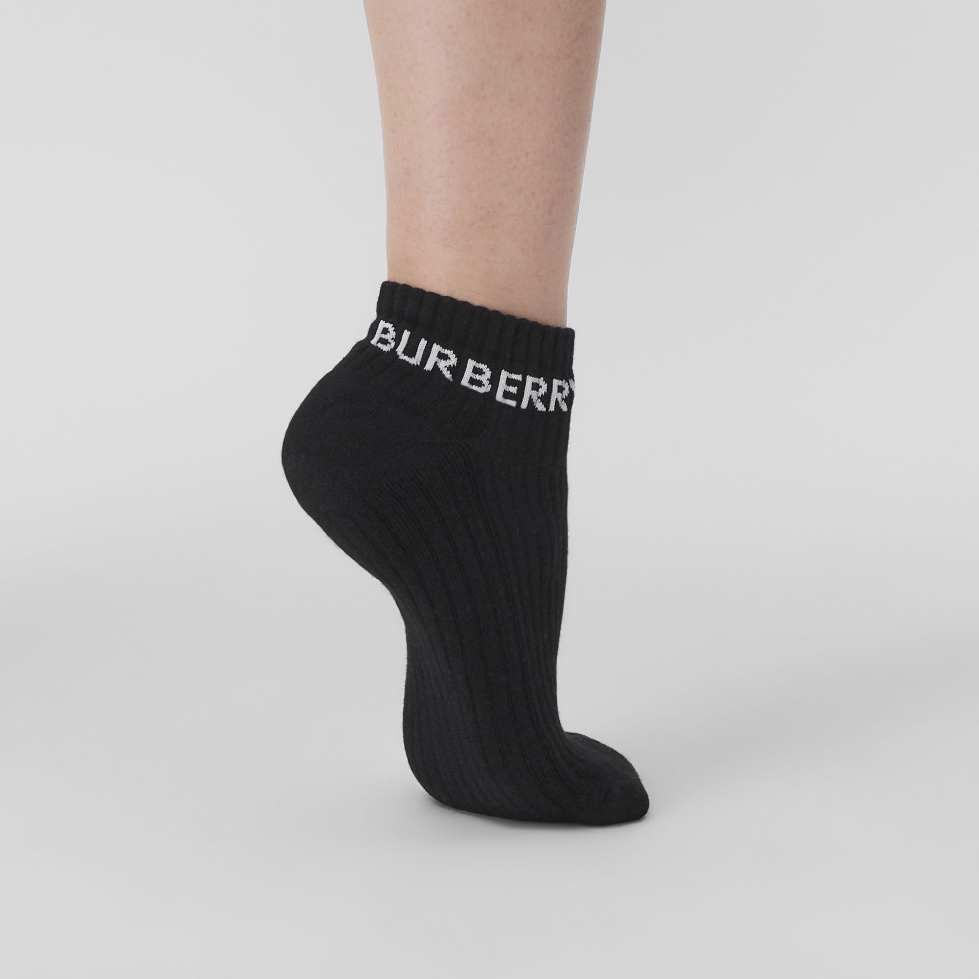 Logo Intarsia Technical Stretch Cotton Ankle Socks in Black | Burberry - gallery image 2