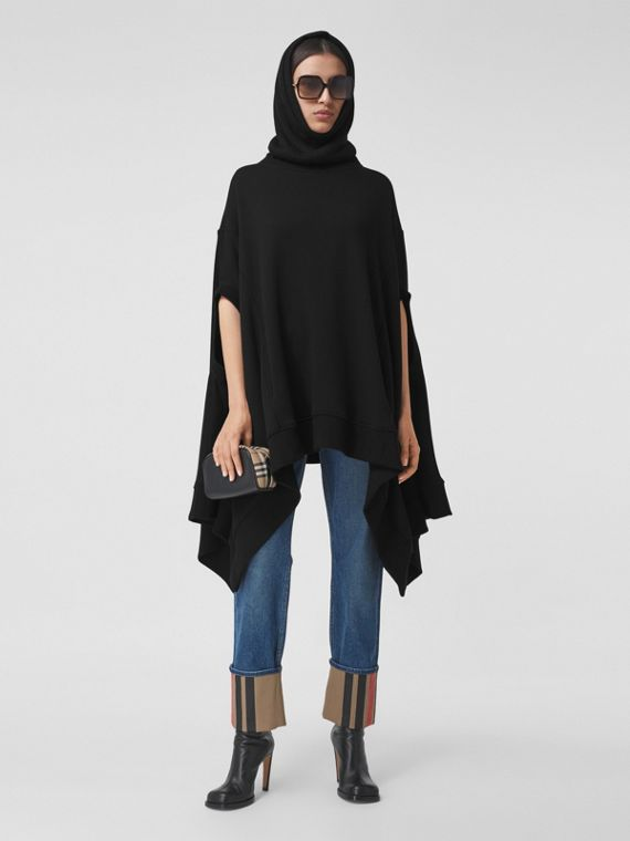 Cut-out Sleeve Jersey Hooded Cape in Black