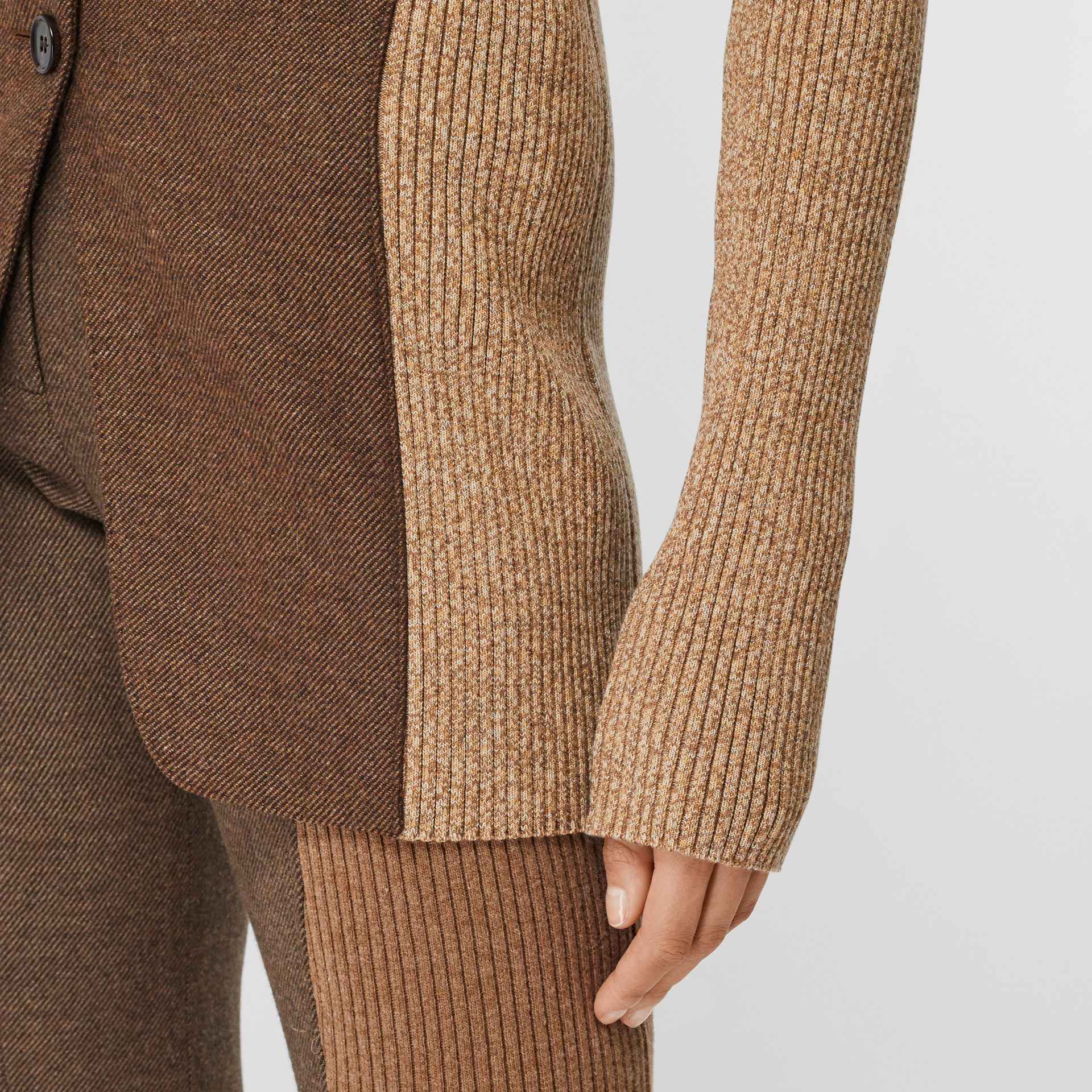 Rib Knit Panel Wool Cashmere Tailored Jacket in Dark Tan - Women | Burberry - gallery image 4