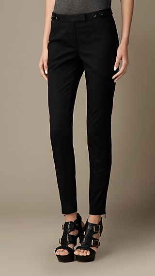 Skinny Fit Cotton Twill Trousers