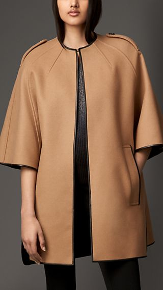 Wool Blend Leather Trim Cape