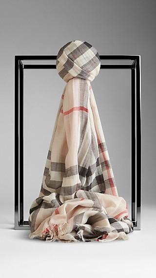 Schal aus Woll- und Seidengaze mit Check-Muster