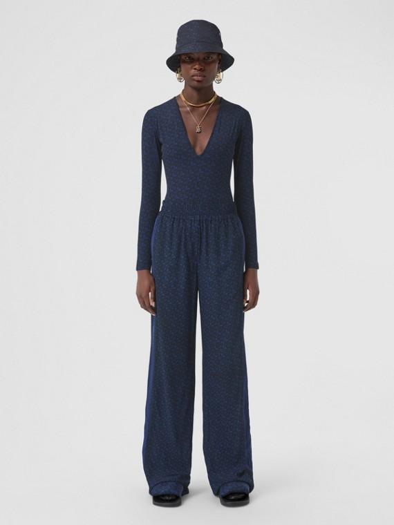 Monogram Print Stretch Jersey V-neck Bodysuit in Deep Royal Blue