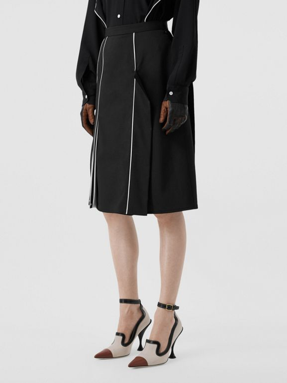 Piping Detail Stretch Wool Crepe Skirt in Black - Women | Burberry - cell image 1
