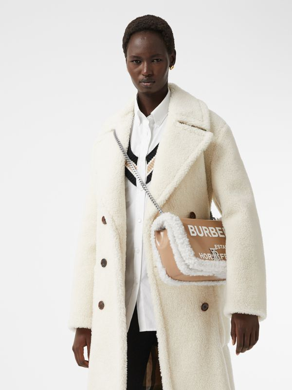 Medium Coated Canvas and Shearling Lola Bag in Camel - Women | Burberry Hong Kong S.A.R. - cell image 2