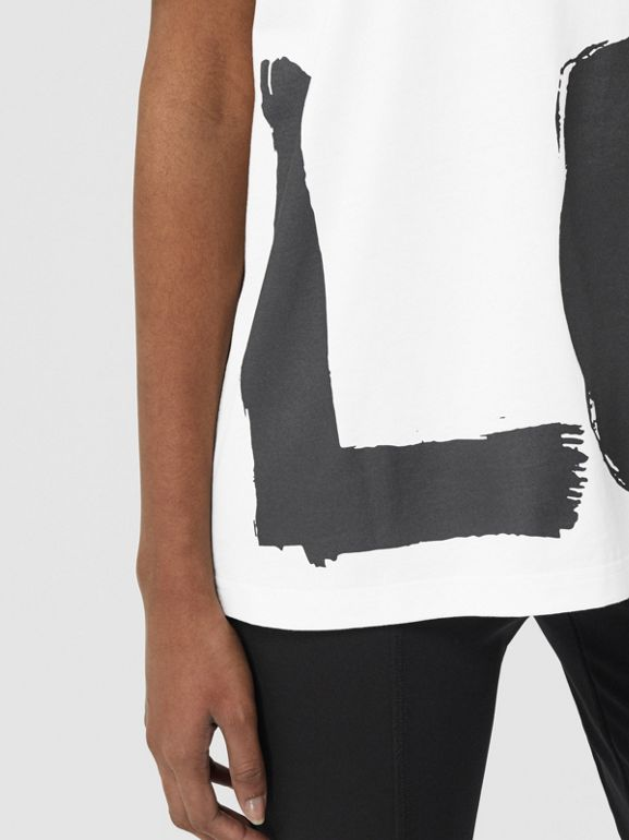 Love Print Organic Cotton Oversized T-shirt in White - Women | Burberry - cell image 1