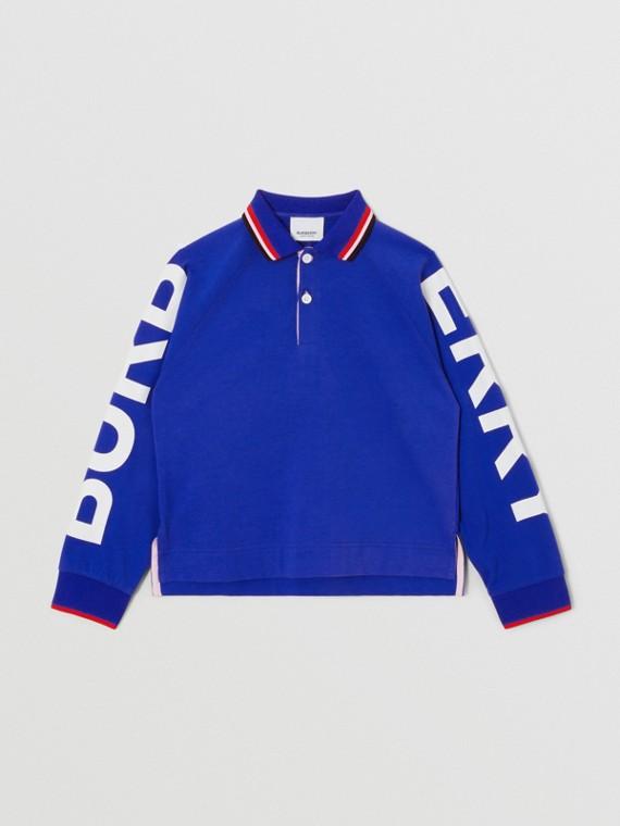 Camisa polo de mangas longas em algodão com logotipo (Azul Cobalto)