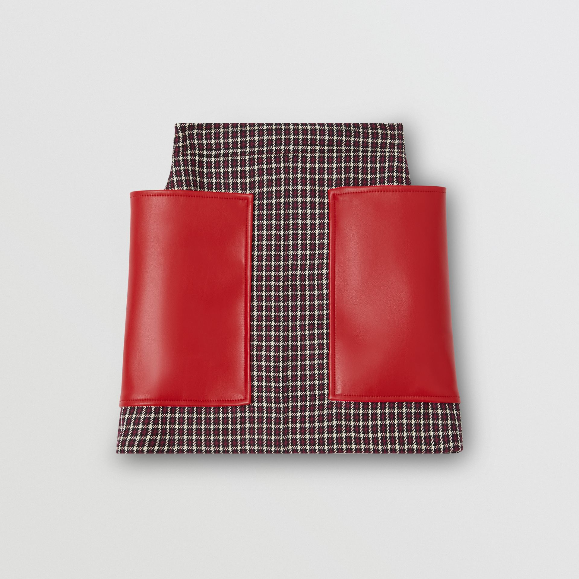 Pocket Detail Tartan Wool Mini Skirt in Bordeaux - Women | Burberry - gallery image 3