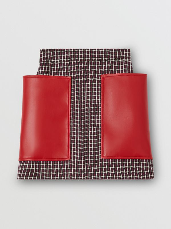 Pocket Detail Tartan Wool Mini Skirt in Bordeaux - Women | Burberry - cell image 3