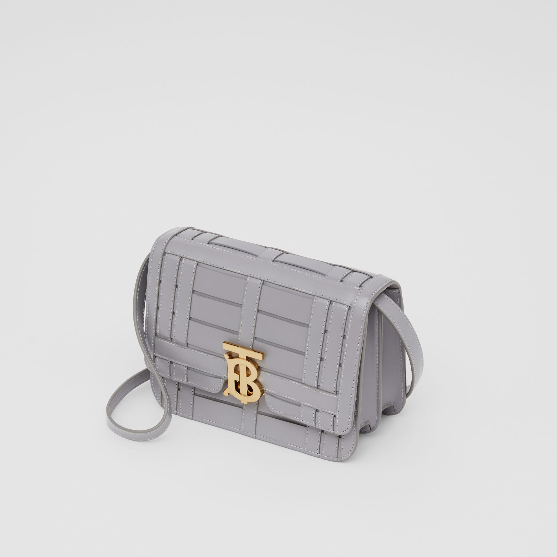 Small Woven Leather TB Bag in Cloud Grey - Women | Burberry - gallery image 3