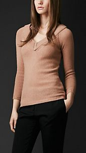 Open-Stitch Detail Cashmere Sweater