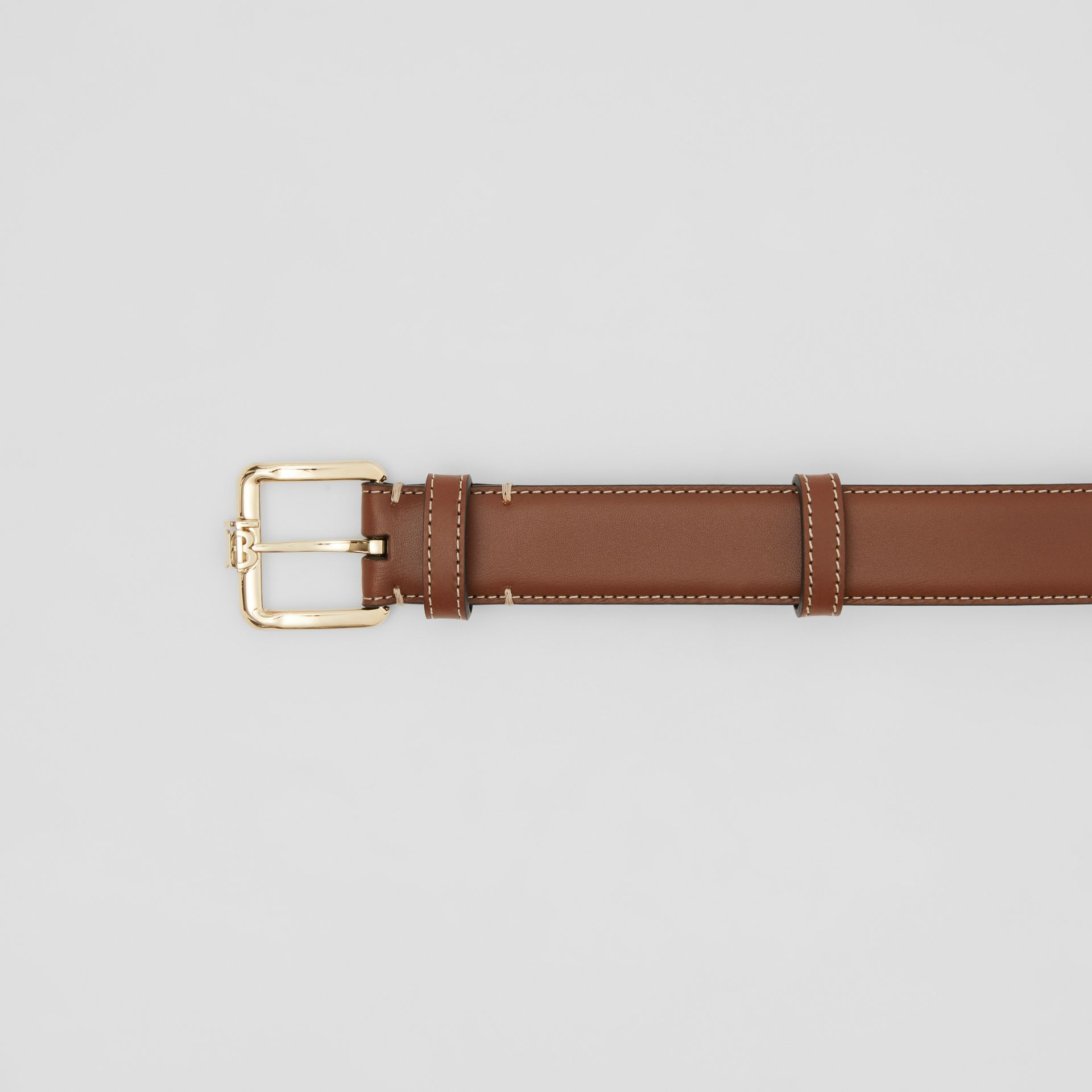 Monogram Motif Topstitched Leather Belt in Tan/light Gold - Women | Burberry - gallery image 1