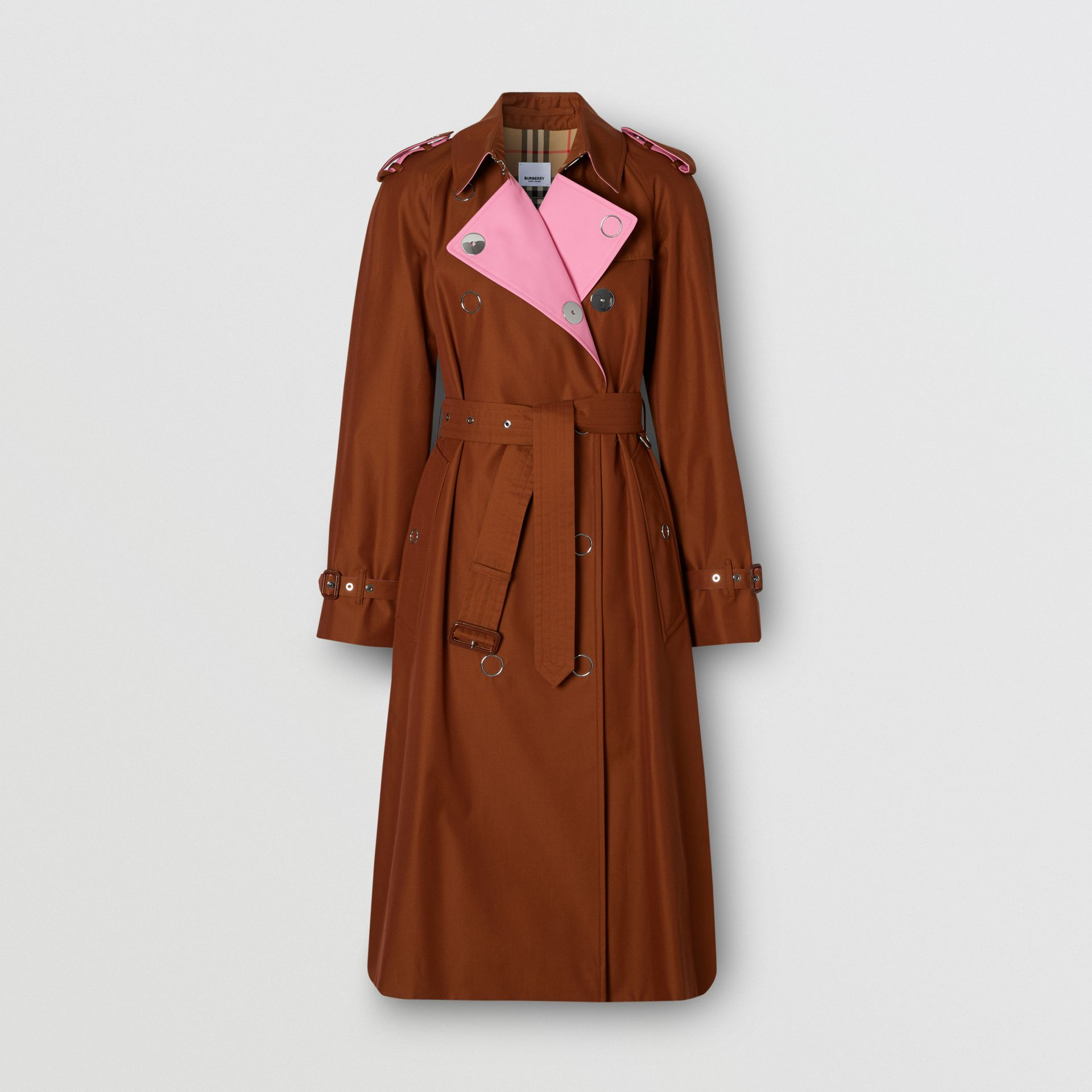 Colour Block Cotton Gabardine Trench Coat in Chestnut Brown - Women | Burberry - gallery image 3