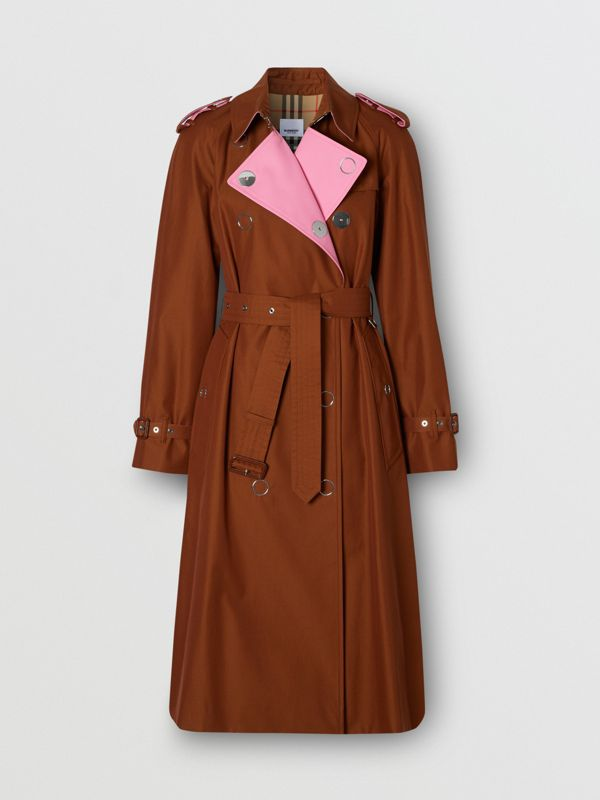 Colour Block Cotton Gabardine Trench Coat in Chestnut Brown - Women | Burberry - cell image 3
