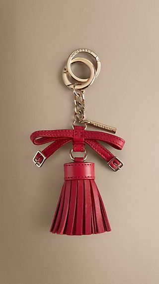 Bow Detail Leather Tassel Key Charm