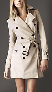 Trench-coat mi-long en gabardine de coton