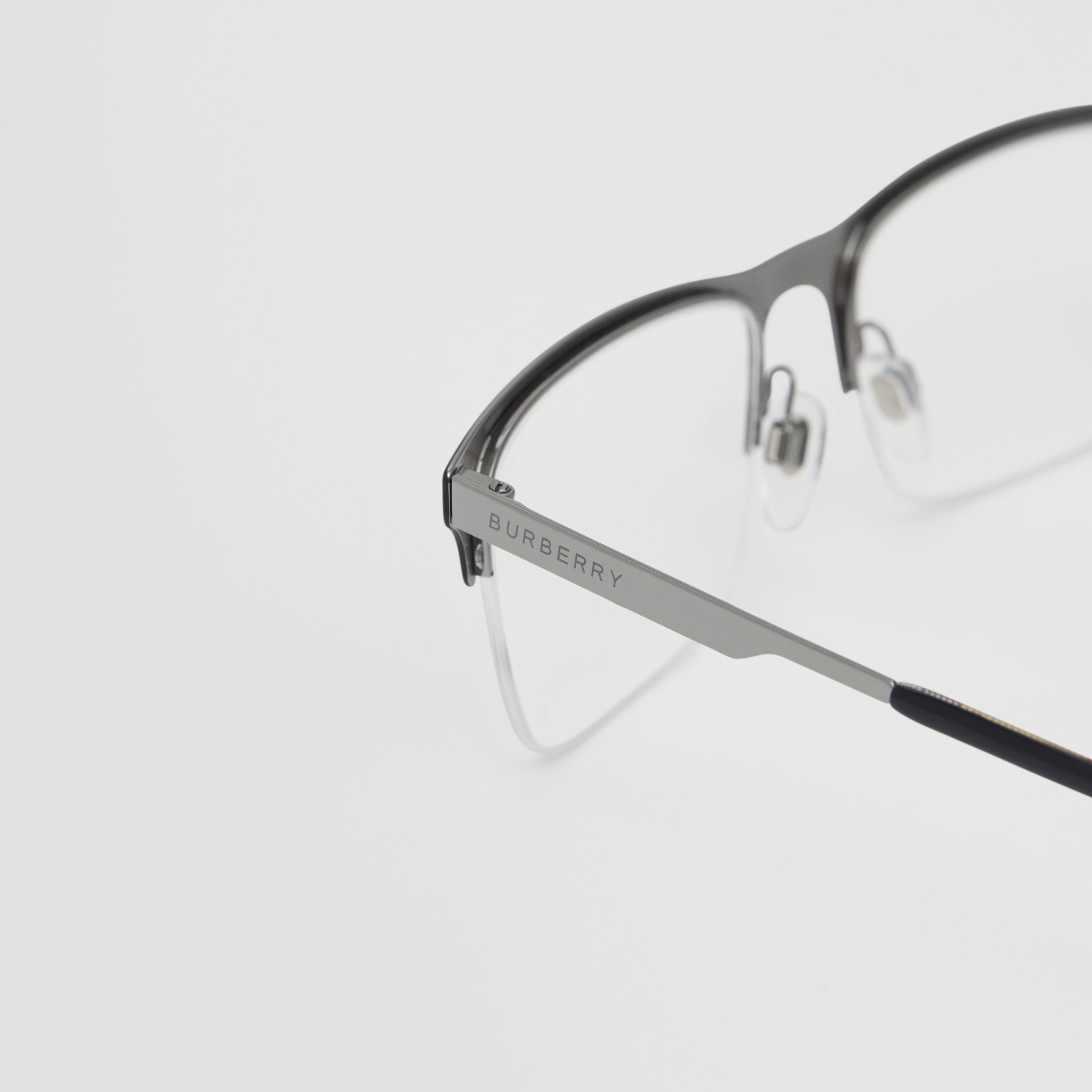 Rectangular Optical Frames in Matte Black - Men | Burberry - gallery image 1
