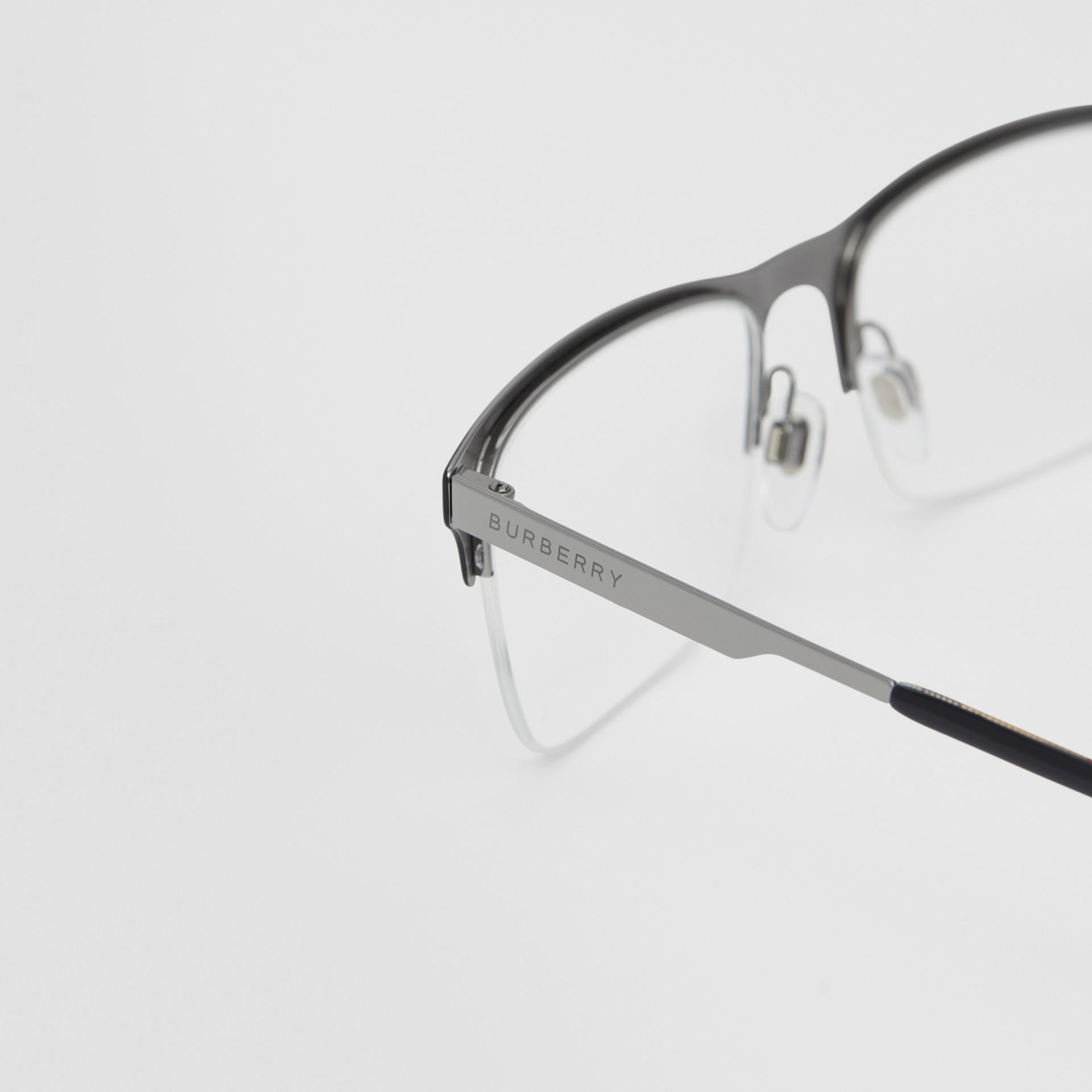 Óculos de grau com armação retangular (Preto Fosco) - Homens | Burberry - galeria de imagens 1