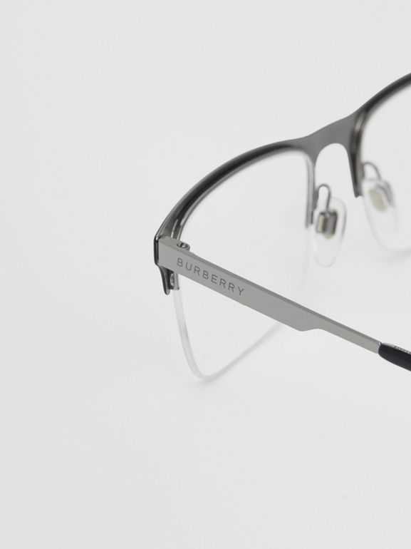 Rectangular Optical Frames in Matte Black - Men | Burberry - cell image 1