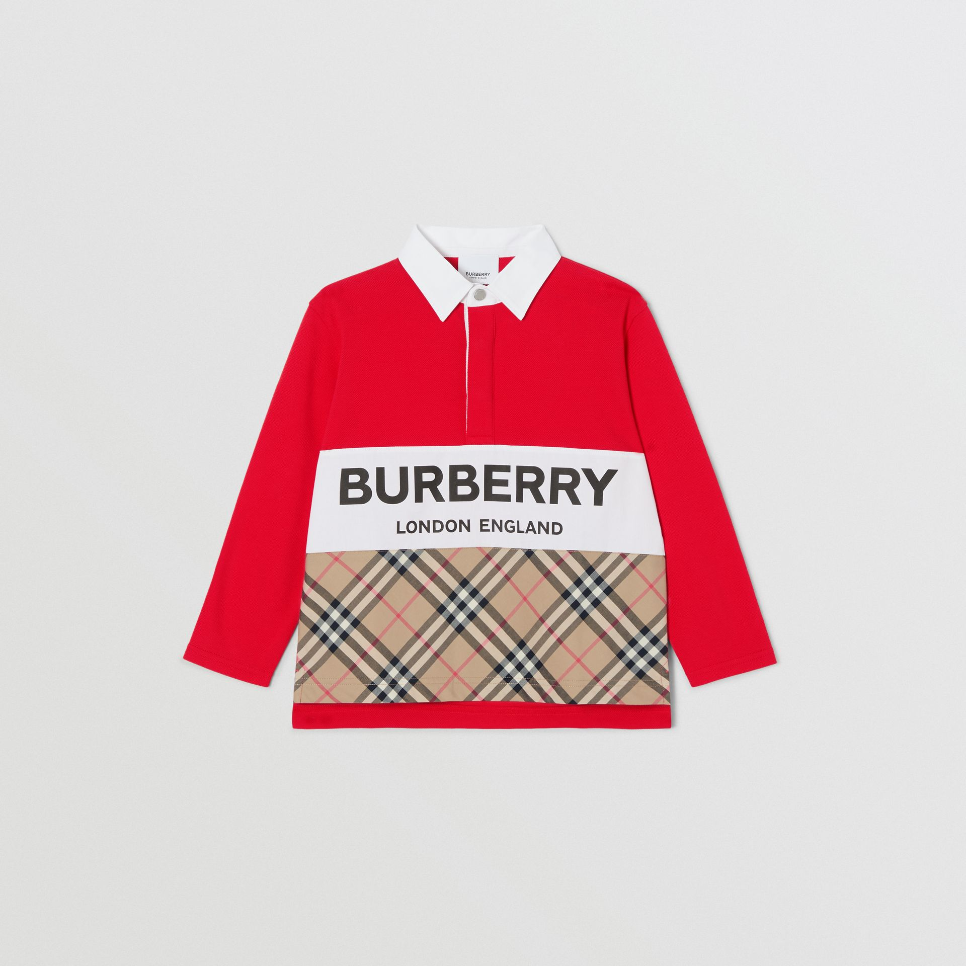 Long-sleeve Logo Print Vintage Check Panel Polo Shirt in Bright Red | Burberry United Kingdom - gallery image 0