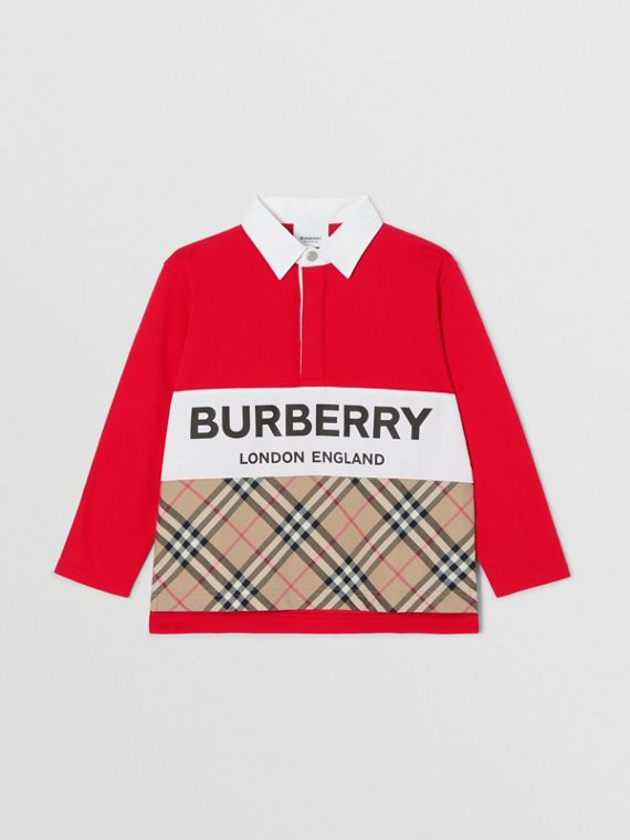 Long-sleeve Logo Print Vintage Check Panel Polo Shirt in Bright Red