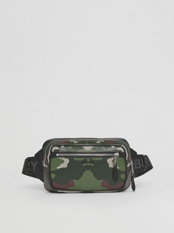 Camouflage Print Cotton Canvas Bum Bag in Mangrove Green