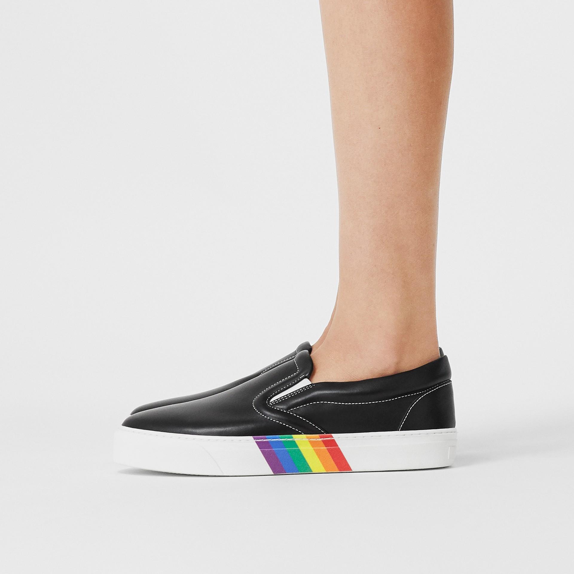 Rainbow Print Leather Slip-on Sneakers in Black - Women   Burberry United Kingdom - gallery image 2