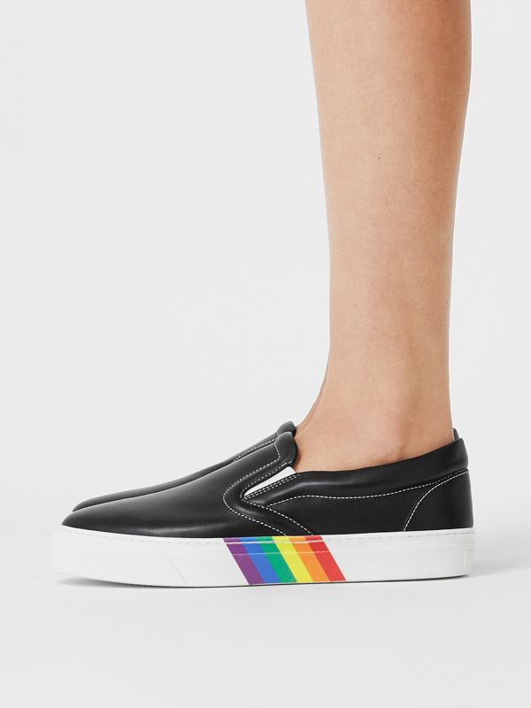 Rainbow Print Leather Slip-on Sneakers in Black - Women   Burberry United Kingdom - cell image 2
