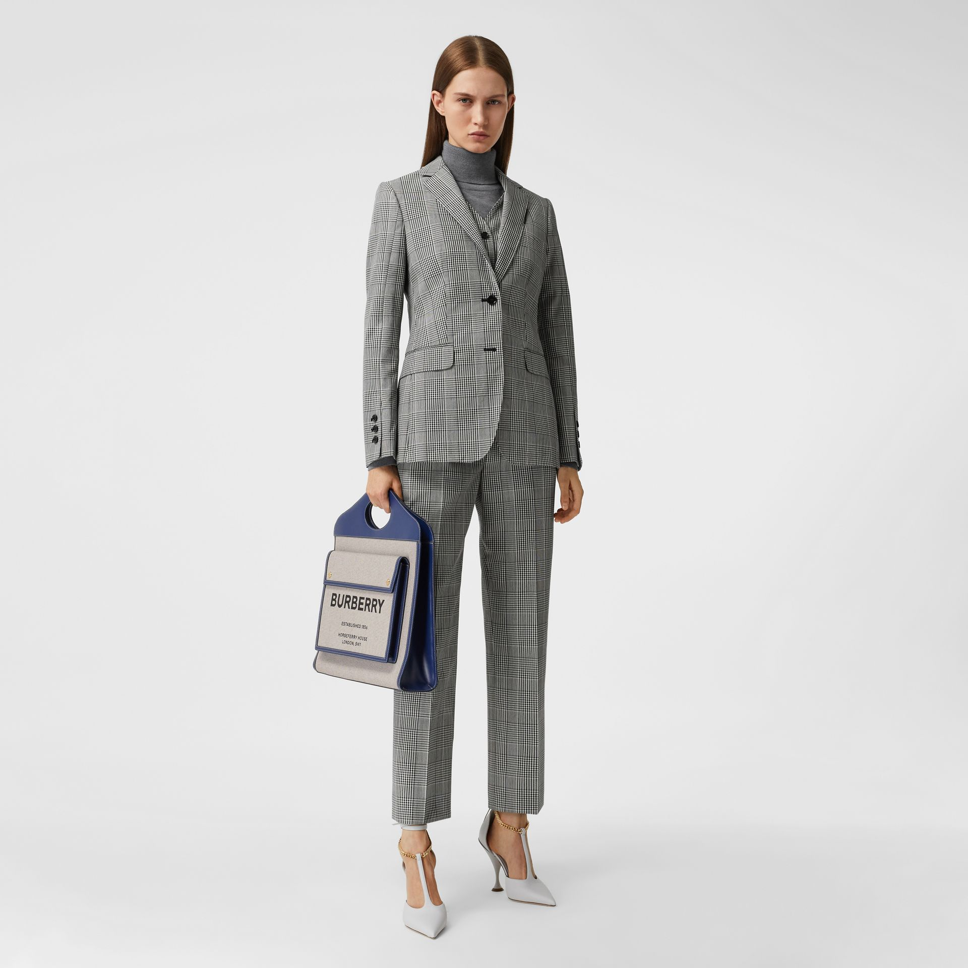 Medium Two-tone Canvas and Leather Pocket Bag in Ink Navy - Women | Burberry - gallery image 5