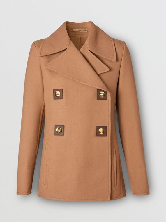Double-faced Wool Pea Coat in Fawn