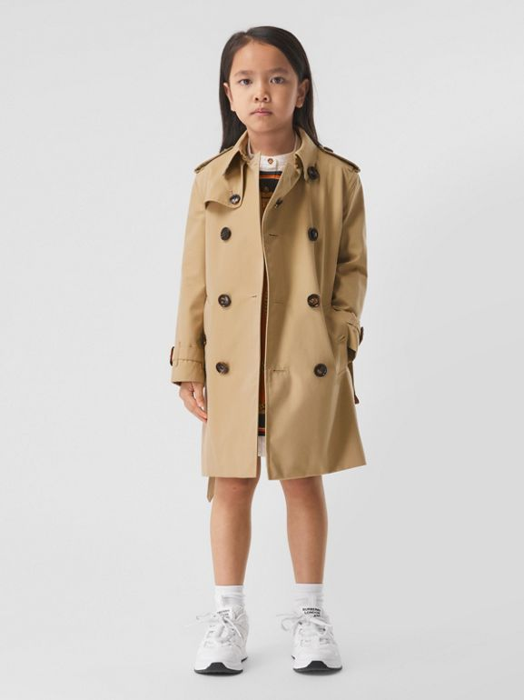 Cotton Gabardine Trench Coat in Honey | Burberry Singapore - cell image 1