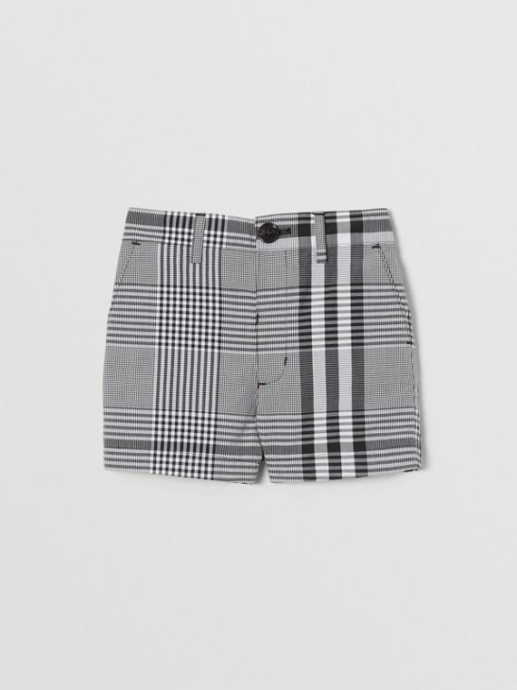 Check Cotton Poplin Tailored Shorts in Black/white