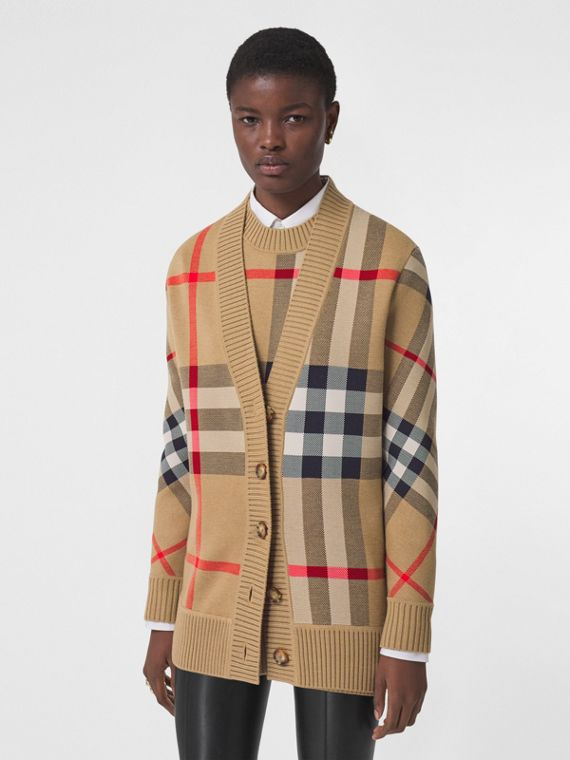 Check Technical Wool Jacquard Cardigan in Archive Beige