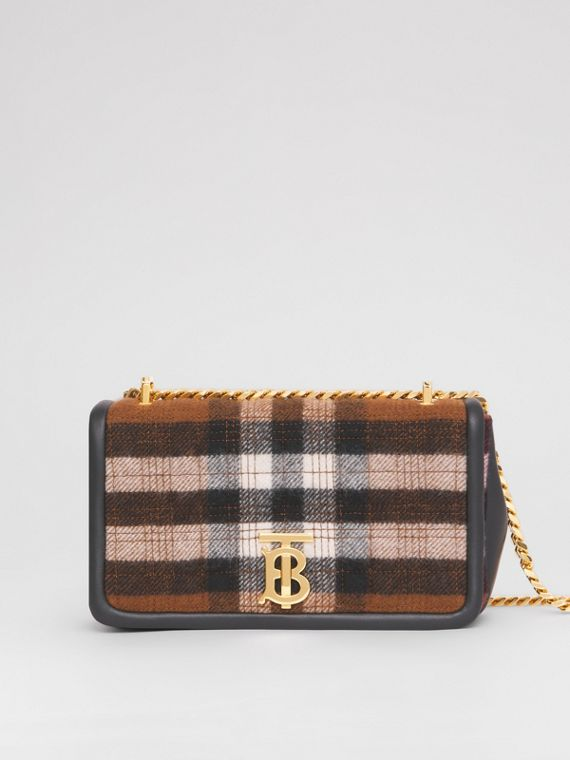 Small Quilted Check Cashmere Lola Bag in Black