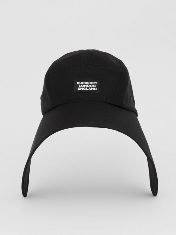 Logo Appliqué Cotton Twill Bonnet Cap in Black