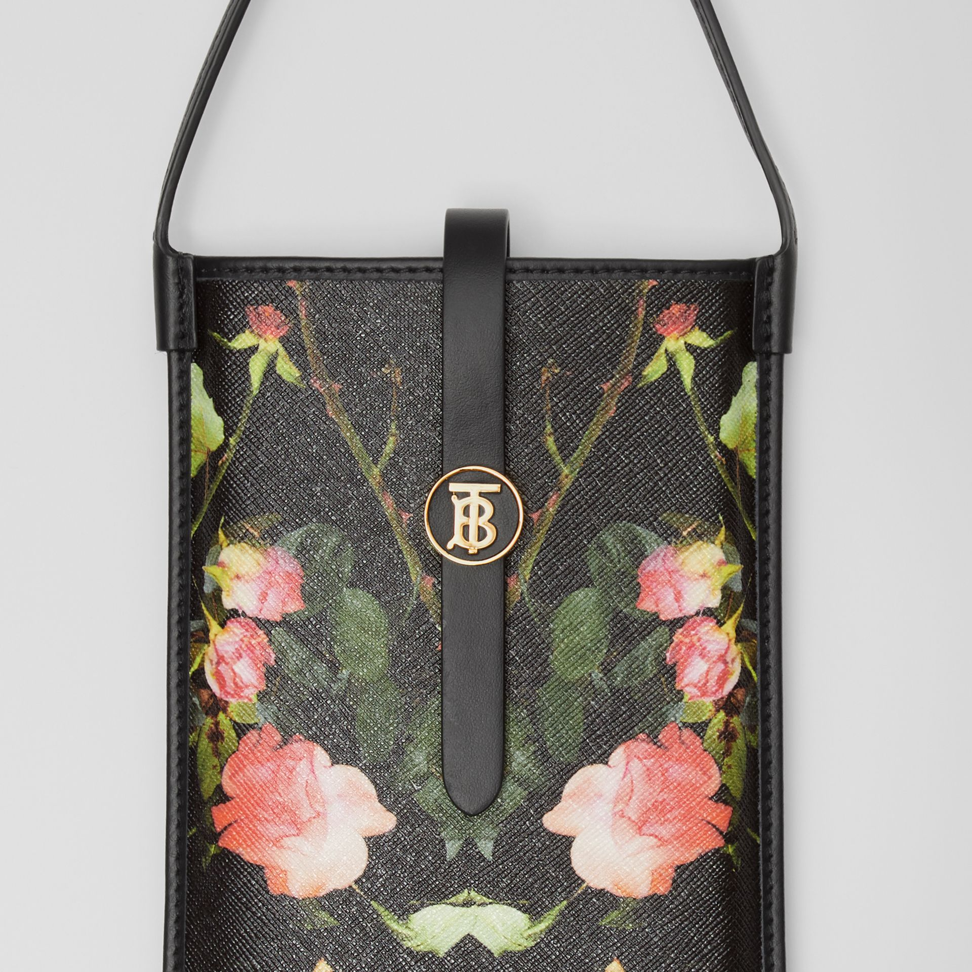 Rose Print E-canvas Phone Case with Strap in Black | Burberry - gallery image 1