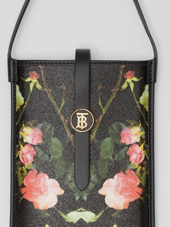 Rose Print E-canvas Phone Case with Strap in Black | Burberry - cell image 1
