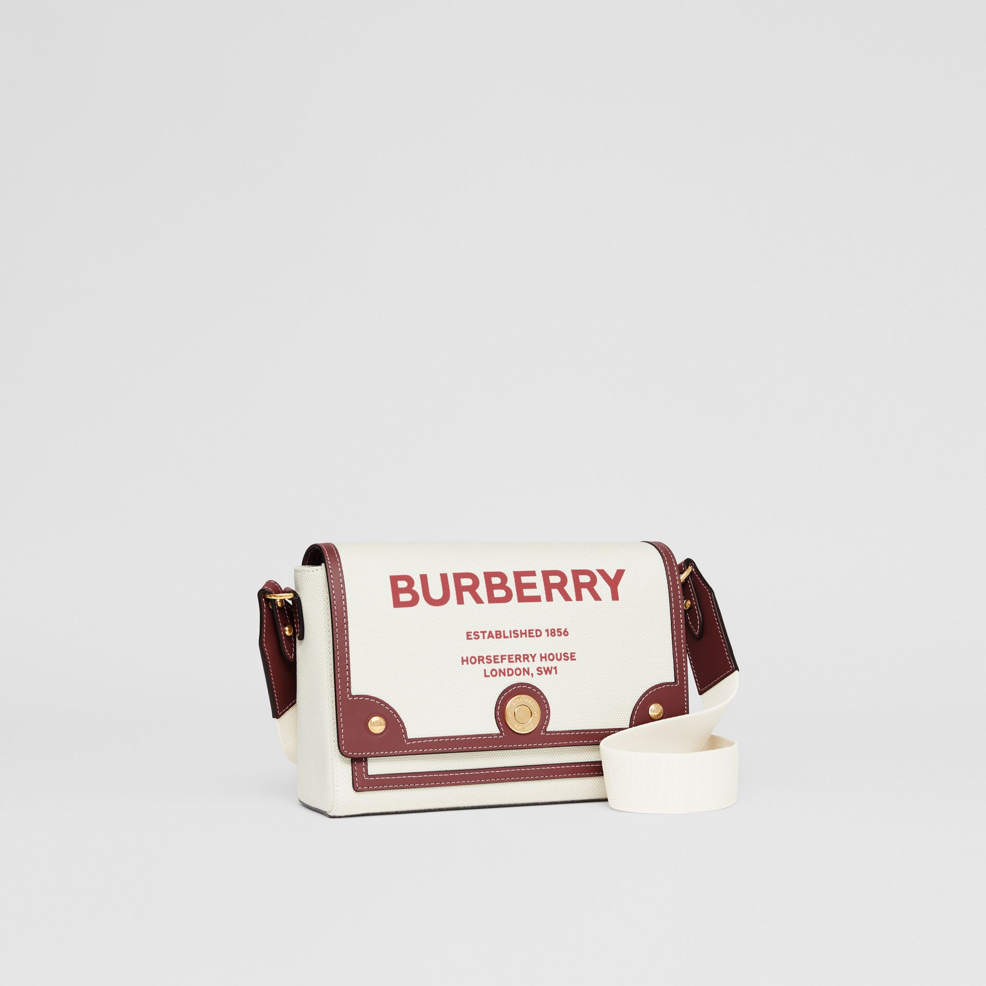 Horseferry Print Canvas Note Crossbody Bag in Natural/garnet - Women | Burberry Canada - gallery image 6