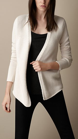 Cotton Cashmere Elbow Patch Cardigan