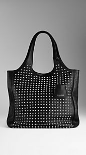 Shopping bag media in pelle con borchie