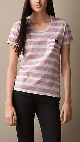 Faded Stripe Cotton Jersey T-Shirt