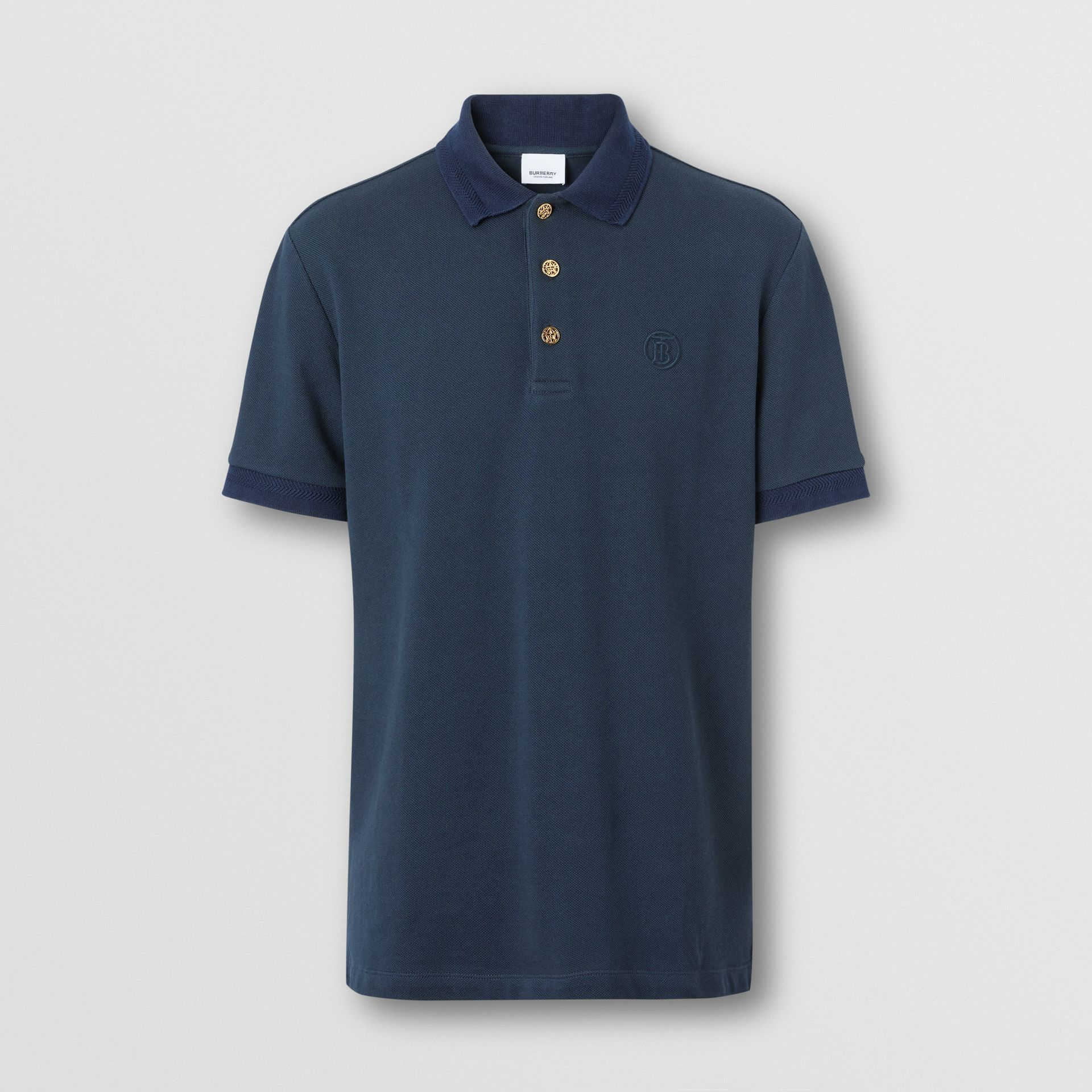 Button Detail Cotton Piqué Polo Shirt in Navy - Men | Burberry - gallery image 3